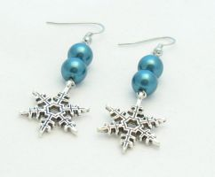 Blue Snowflake Earrings by MoonlightCraft