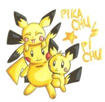 Pikachu and Pichu by WingJourneys