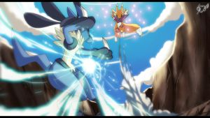 -_Lucario_Vs_Renamon_- by VanilliaWings