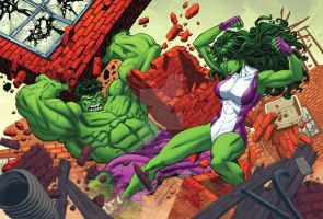 Hulk Vs. She-Hulk by bennyfuentes
