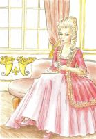 Marie Antoinette drinking tea by Andoien