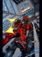 Deadpool Falling by MarcBourcier