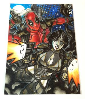 Deadpool and Domino Sketch Card by J-Redd
