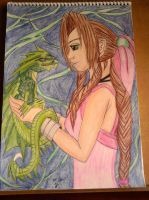 Aerith and her dragon by Laineyfantasy