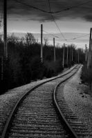 Follow the Rails-Black and White by emspanglerphotos