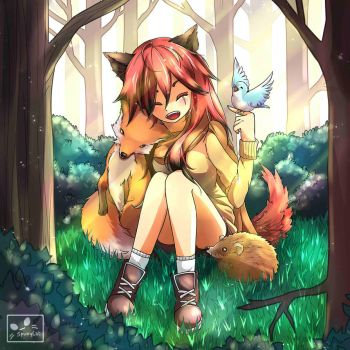 Xylia in the forest - Commission by SpukyCat