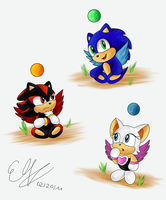 Chao doodles by Azurelly