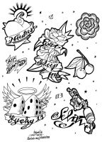Tattoo Flash Page 03 COMMISSION by JTIllustrations