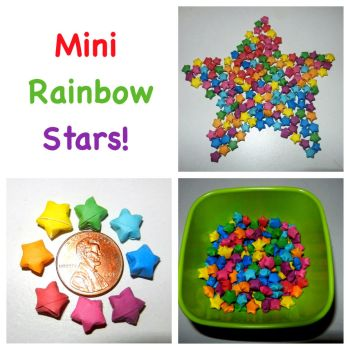 160 Rainbow Mini Origami Lucky Stars by chikki587
