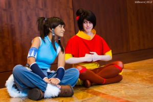 Korra and Jinora: Meditation? by wisecraxx