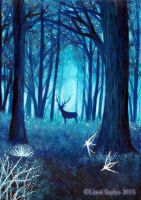 Magical deep blue forest by FaerySayles