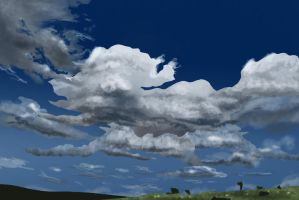 Peaceful clouds and field by elufie