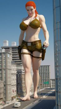 Cassie Croft 300ft by Tiny-Mk by Giantess-Cassie