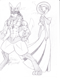 Neon hymmel the Lucario and Sonia the Gardevoir by TheGoldenMoon