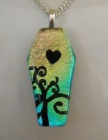 Coffin with Swirls and Heart by HoneyCatJewelry