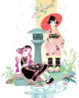 Japanese dolls in pink by blackBanshee80