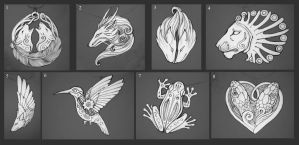 Sketches for pendants V by hontor