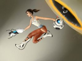 Portal 2 - Chell and Wheatley by PatBanzer