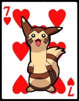 furret 7 of hearts:pok'ards by XxSlyCatxX