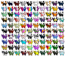 100 Cats Adopts _ALL FREE_ _OPEN_ by Ruvikkin