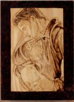 Buffy and Angel Pyrography by wickedtiger86