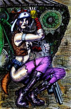 Tank Girl B 12x18 Mixed Media on Watercolor Pa by DemianLegg
