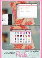 Oscuro Pink theme for windows 7. by a-Rawring