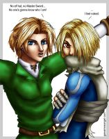 """Hatless"" - Link and Sheik by GawainesAngel"