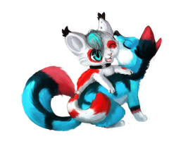 Painted Chibi Commission - Skater Kat and Chipo by Bowtiefoxin