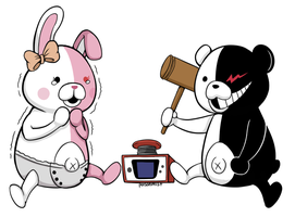 Dangan Ronpa - Monokuma + Monomi by broccolistew