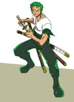 Roronoa Zoro Standard Pose by airlobster