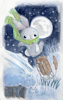 Winter Bunny Sledding by DivaLea