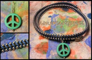 Give Peace a Chance Choker  ~Blue/Silver~ by RavingEagleMedia