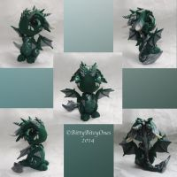Green And Silver Baby Dragon by BittyBiteyOnes