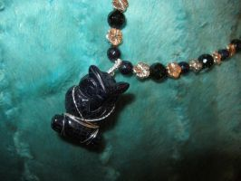 Blue Goldstone Owl Necklace Closeup 2 by Windthin
