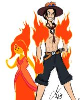 Adventure Time One Piece Flame Princess And Ace by Commie-Panda
