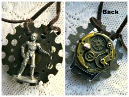 Star Wars Steampunk C3P0 Double Sided Necklace by elllenjean