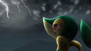 Snivy in storm by All0412