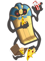 Request: Cofagrigus Eating Pizza Coloured by Lunastralis