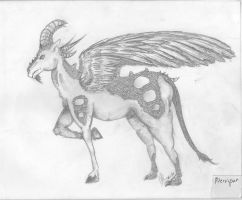 Winged Goat dragon thing by VanityElric