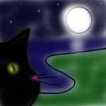 Cat at midnight by BlueWinterRose