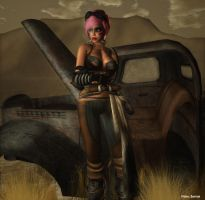Apocalypse Girl- Rusty Chevrolet in the Dryland by MeryllPanthar