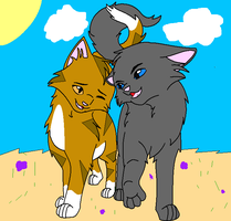 Leafpool and Crowfeather by RavenfeatherForever