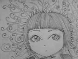 Girl with big eyes by lorellee