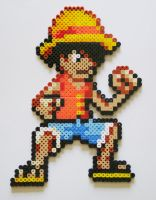 Luffy (One Piece) - Perler+Hama Beads by yolei-s