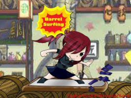 Erza Barrel Surfing - Fairy Tail Chapter 290 by YughieAlva88