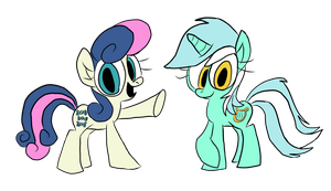 Bon-Bon and Lyra by WaggonerCartoons