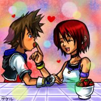 Sora and Kairi by rakieru