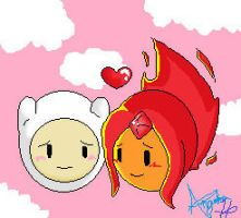 Finn and Flame Princess by AHeartForMetaKnight