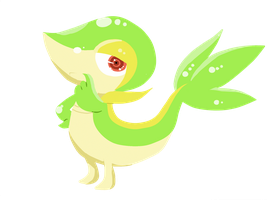 my first lineless picture Snivy by St3ffimon